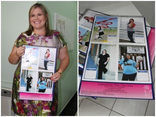 Aluna do curso de Fabiana Camilo orgulhosa com o resultado do trabalho, o Calendário Plus Size.