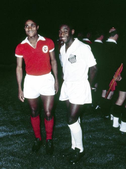 O craque do Benfica Eusébio e o Rei Pelé