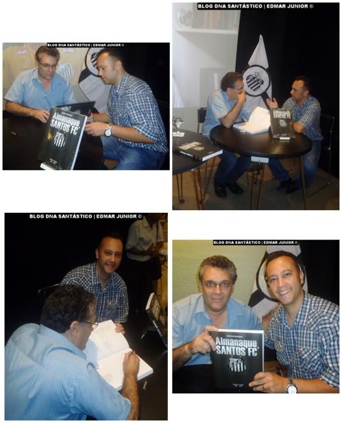 Prof. Guilherme Nascimento concedeu autógrafo no exemplar do Almanaque do Santos FC que será sorteado pelo Blog DNA Santástico