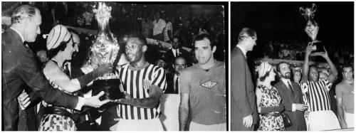 No amistoso Seleção Carioca 1 x 3 Seleção Paulista, no Maracanã, o Rei Pelé, autor de um gol dos paulistas, recebe uma coroa de Elizabeth II, Rainha da Inglaterra.
