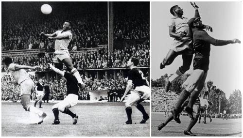 Em dois lances, o baixinho Pelé e sua inacreditável impulsão!