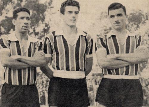O trio médio da equipe do Grêmio: Figueiró, Calvet e Enio Rodrigues.