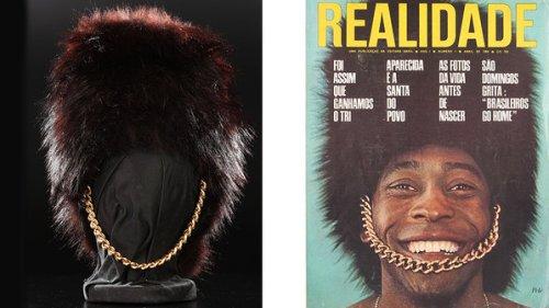 O chapéu de guarda britânico usado na capa da revista 'Realidade'; objetos do acervo pessoal de Pelé estão reunidos no livro 'As joias do rei', de Celso de Campos Jr. - Leo Feltran/Divulgação
