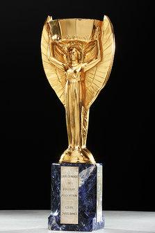 Réplica da taça Jules Rimet; objetos do acervo pessoal de Pelé estão reunidos no livro 'As joias do rei', de Celso de Campos Jr. - Leo Feltran/Divulgação